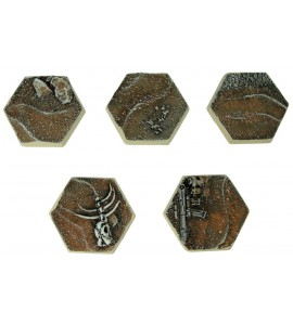 25mm Desert Hex Bases Five Pack