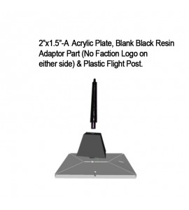 "Jovian Wars: Acrylic Base Plate 2""x1.5""A Blank Black Resin Adaptor Part & Black Plastic Post"