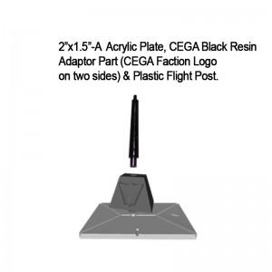 "Jovian Wars: Acrylic Base Plate 2""x1.5""A CEGA Logo Black Resin Adaptor Part & Black Plastic Post"