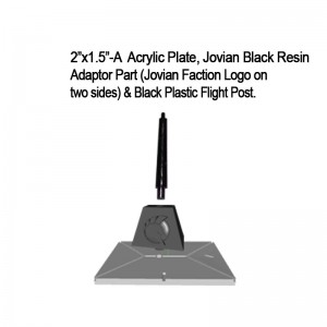 "Jovian Wars: Acrylic Base Plate 2""x1.5""A Jovian Logo Black Resin Adaptor Part & Black Plastic Post"
