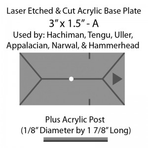 "Jovian Wars: Acrylic Base Plate 3""x1.5""A & Post"