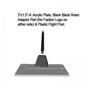 "Jovian Wars: Acrylic Base Plate 3""x1.5""A Blank Black Resin Adaptor Part & Black Plastic Post"