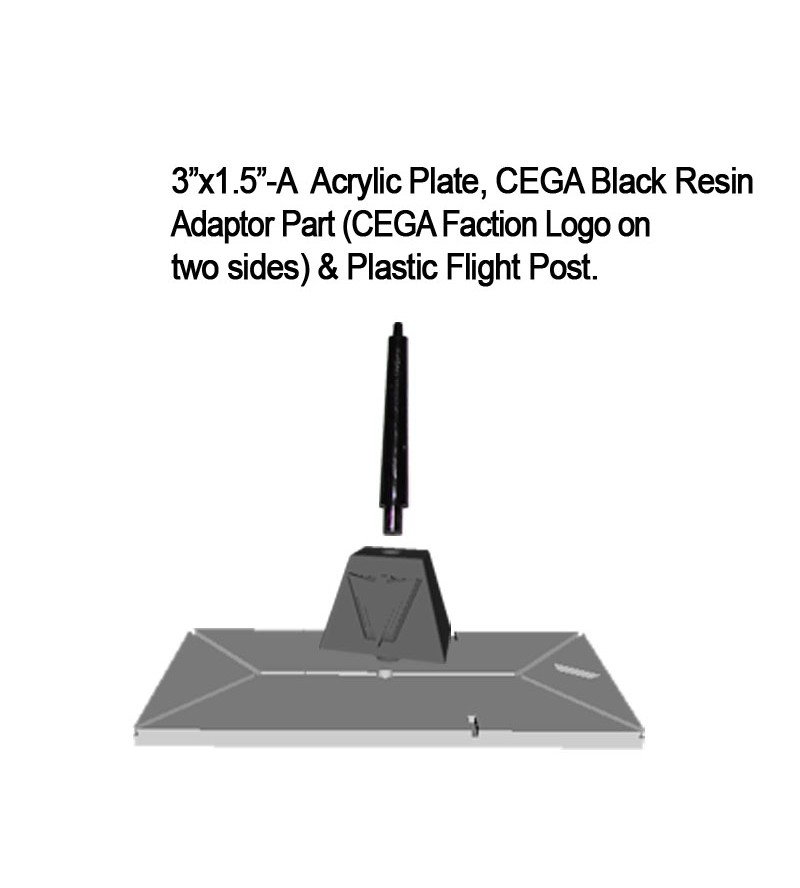 "Jovian Wars: Acrylic Base Plate 3""x1.5""A CEGA Logo Black Resin Adaptor Part & Black Plastic Post"