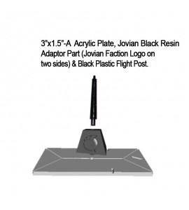 "Jovian Wars: Acrylic Base Plate 3""x1.5""A Jovian Logo Black Resin Adaptor Part & Black Plastic Post"