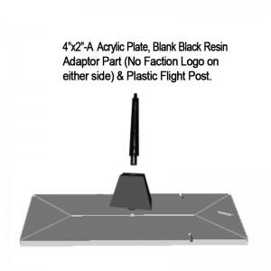 "Jovian Wars: Acrylic Base Plate 4""x2""A Blank Black Resin Adaptor Part & Black Plastic Post"
