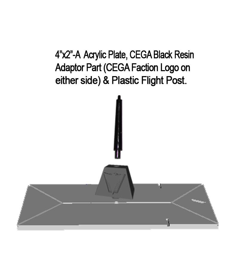 "Jovian Wars: Acrylic Base Plate 4""x2""A CEGA Logo Black Resin Adaptor Part & Black Plastic Post"