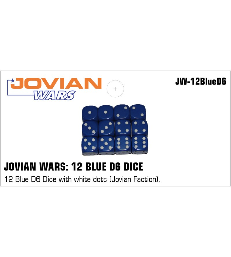 Jovian Wars: 12 Blue D6 with White Dots Jovian Faction