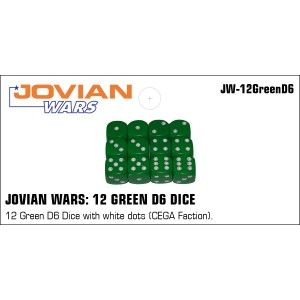 Jovian Wars: 12 Green D6 with White Dots CEGA Faction